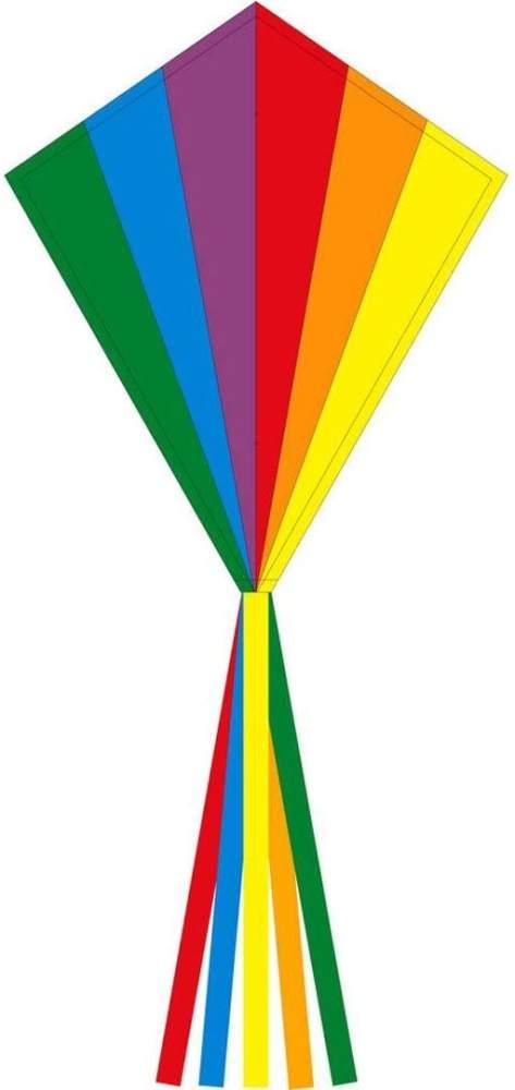 Ecoline 102115 - Eddy Rainbow 70cm Kinderdrachen Einleiner, ab 5 Jahren, 70x58cm und 2.5m Drachenschwanz, inkl. 17kp Polyesterschnur 25m auf Griff, 2-5 Beaufort Bild 1