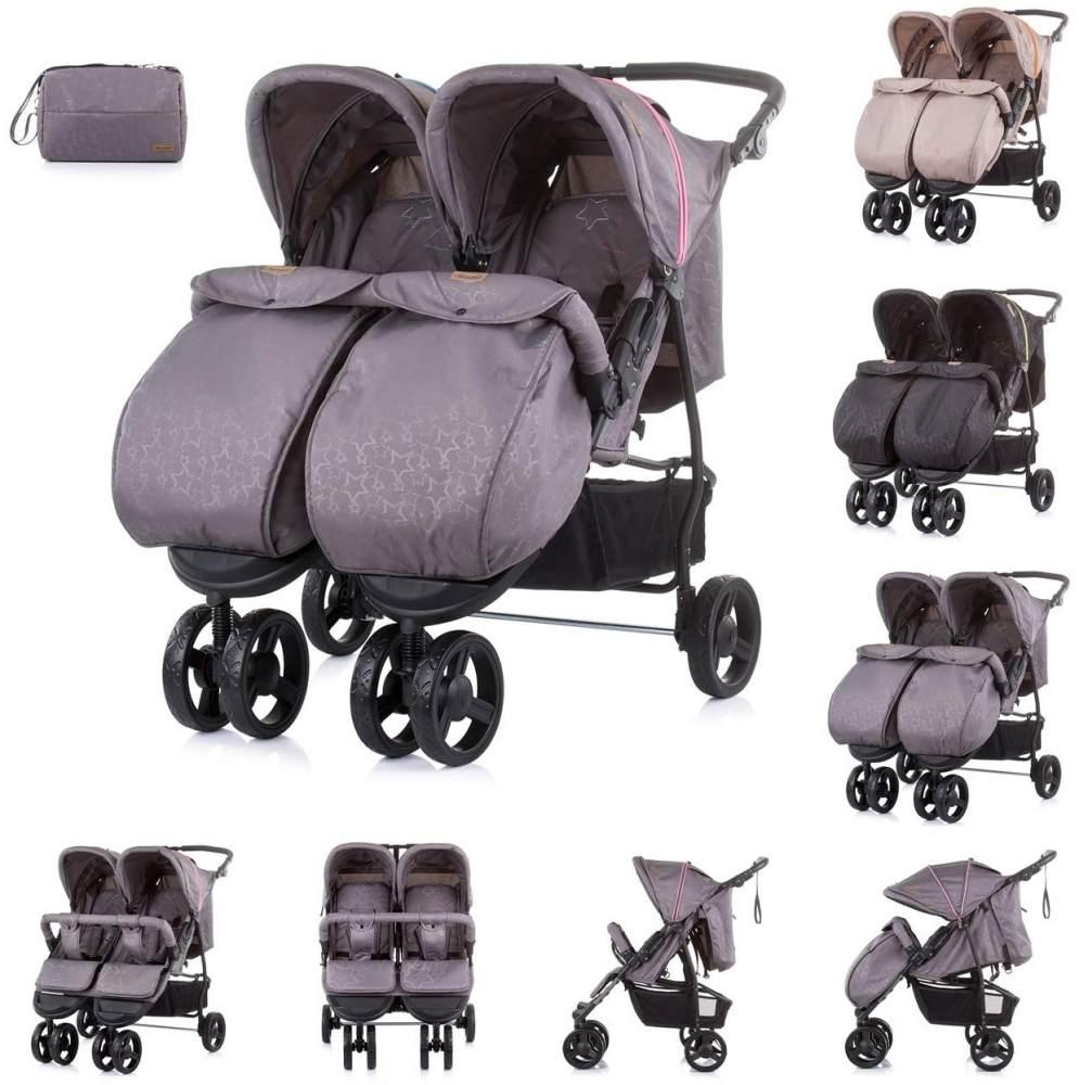 Chipolino Geschwisterkinderwagen Maxi Mix, Fußabdeckung, Rückenlehne verstellbar pink Bild 1