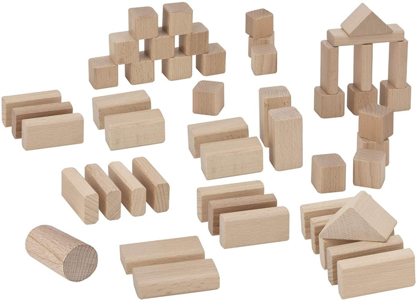 Eichhorn 50 naturfarbene Holzbausteine in Aufbewahrungsbox mit Sortierdeckel, FSC 100% zertifiziertes Buchenholz, hergestellt in Deutschland, Motorikspielzeug geeignet für Kinder ab 1 Jahr Bild 1