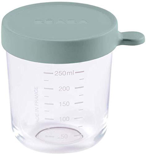 Béaba – Glas-Aufbewahrungsbehälter für Babynahrung – Skalierung – Temperaturbeständig – Aufbewahrungsbehälter für Babys und Kleinkinder – 250 ml – Hergestellt in Frankreich von Béaba – Eukalyptus grün Bild 1