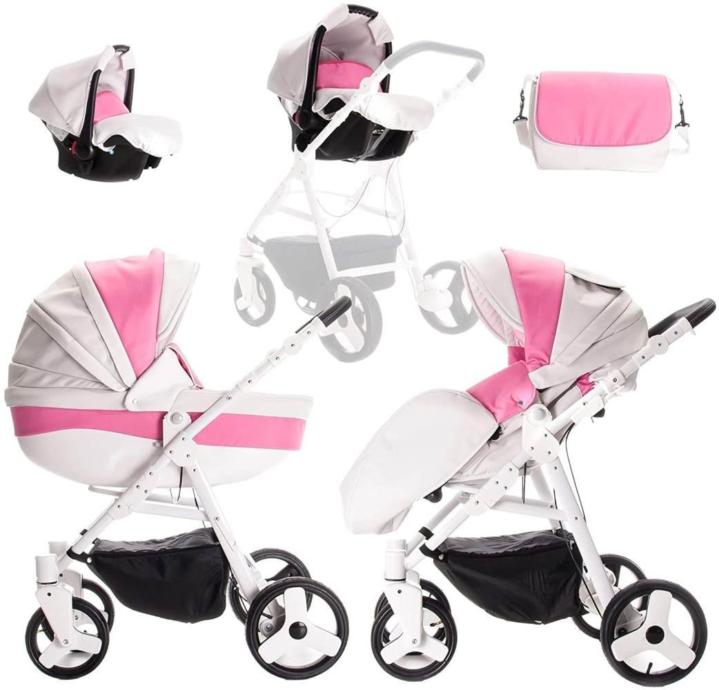 Friedrich Hugo Easy Comfort | 3 in 1 Kombi Kinderwagen Komplettset | Farbe: White Pink & Leatherette Bild 1