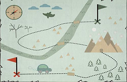 LIVONE 'Love You Schatzkarte' Kinderteppich mint 140 x 190 cm Bild 1