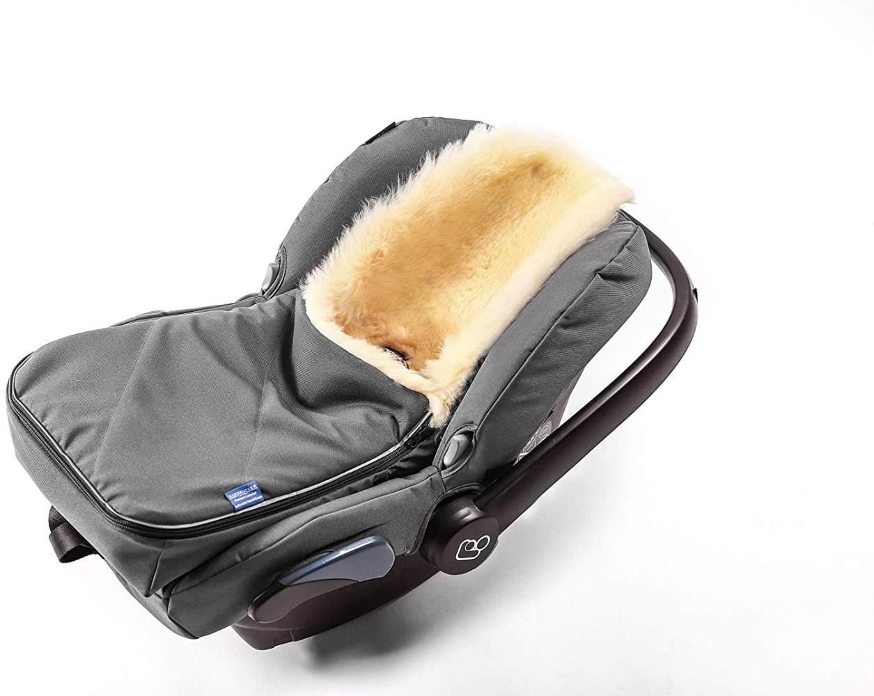 Fußsack für Babyschale Hofbrucker - kuscheliger universal Lammfellfußsack, medizinisches echtes Fell, für Tragetasche, Kinderwagen und Buggy geeignet, Design:grau Bild 1