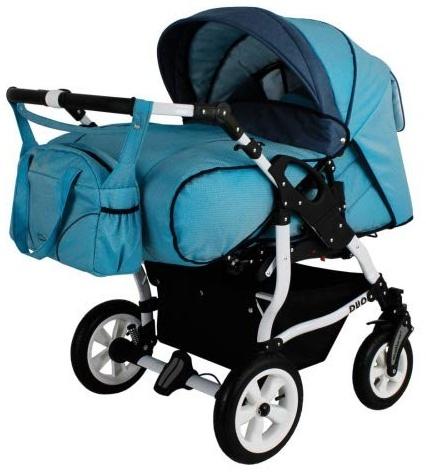 Adbor Duo Spezial Zwillingskinderwagen, Zwillingswagen, Zwillingsbuggy Farbe D-6 blau Bild 1