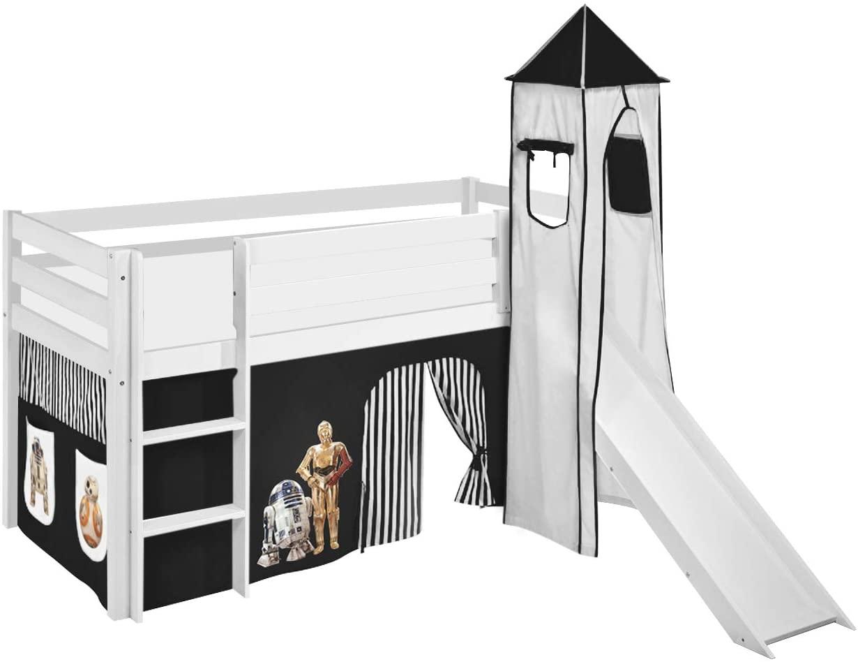 Lilokids 'Jelle' Spielbett 90 x 200 cm, Star Wars Schwarz, Kiefer massiv, mit Turm, Rutsche und Vorhang Bild 1