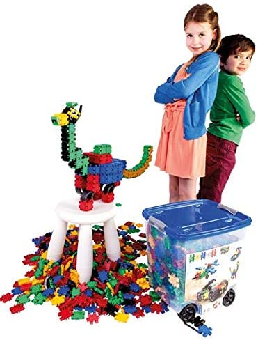 CLICS Konstruktionsspielzeug für Kinder ab 3 Jahre, kreatives Lernspielzeug im 750 Teile Set, Bausteine für Mädchen und Jungen, Montessori STEM-Spielzeug, Box mit Rollen 25 in 1, Bild 1