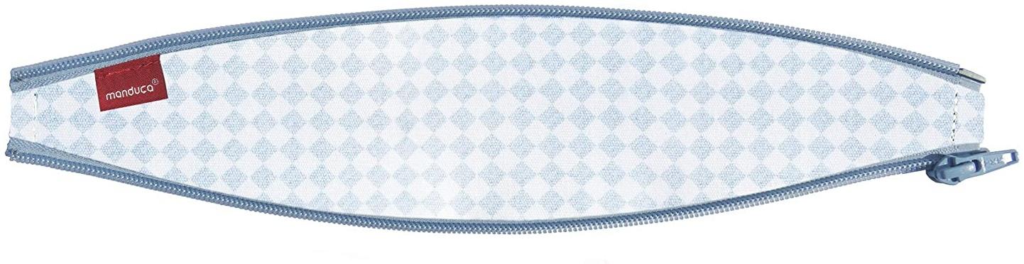 bellybutton by manduca ZipIn Ellipse > SoftCheck Blue < Reißverschluss-Einsatz für die manduca Babytrage/Bauchtrage, optimiert für Neugeborene und kleine Babys, blau mit weißem Karomuster Bild 1