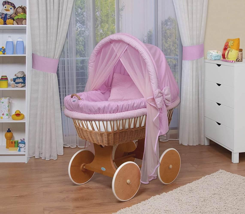 WALDIN Stubenwagen-Set mit Ausstattung, Gestell/Räder natur lackiert, Ausstattung rosa kariert Bild 1