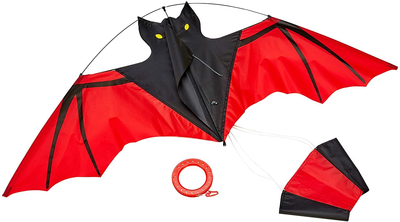 HQ 100034 - Bat Red Kinderdrachen Einleiner, ab 5 Jahren, 47x110cm, inkl. 25kp Polyesterschnur 50m auf Griff, 1.5-4 Beaufort Bild 1