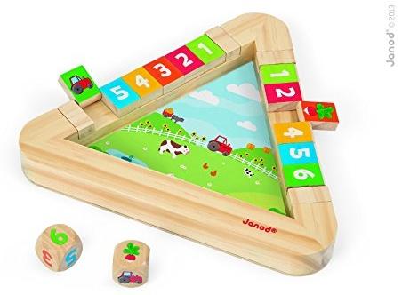 Janod 08150 - Clip Clap Spiel Garten aus Holz, Spiel zum Erlernen der ersten Zahlen inklusive 2 Würfel Bild 1