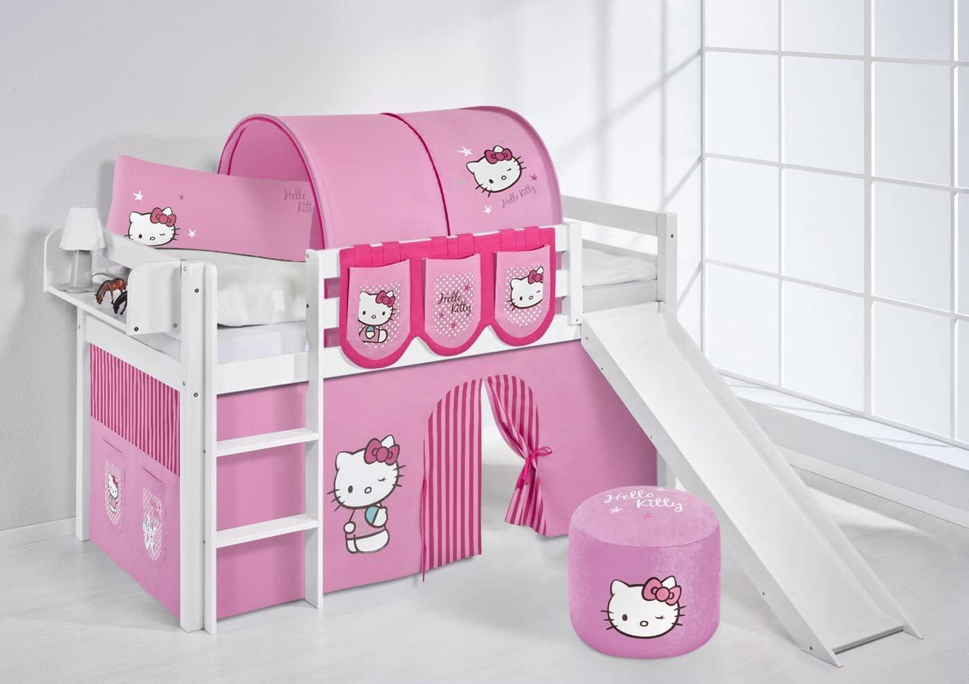 Lilokids 'Jelle' Spielbett 90 x 200 cm, Hello Kitty Rosa, Kiefer massiv, mit Rutsche und Vorhang Bild 1