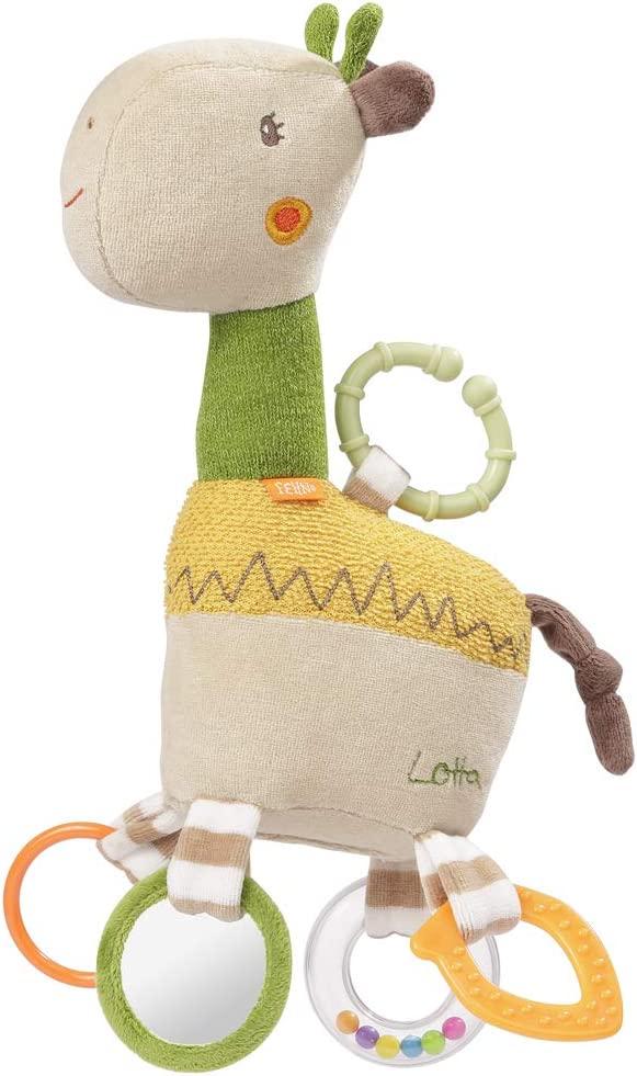 FEHN 059069 Activity-Giraffe mit Ring / Motorikspielzeug zum Aufhängen mit spannenden Anhängern zum Greifen und Geräusche erzeugen - für Babys und Kleinkinder ab 0+ Monaten Bild 1