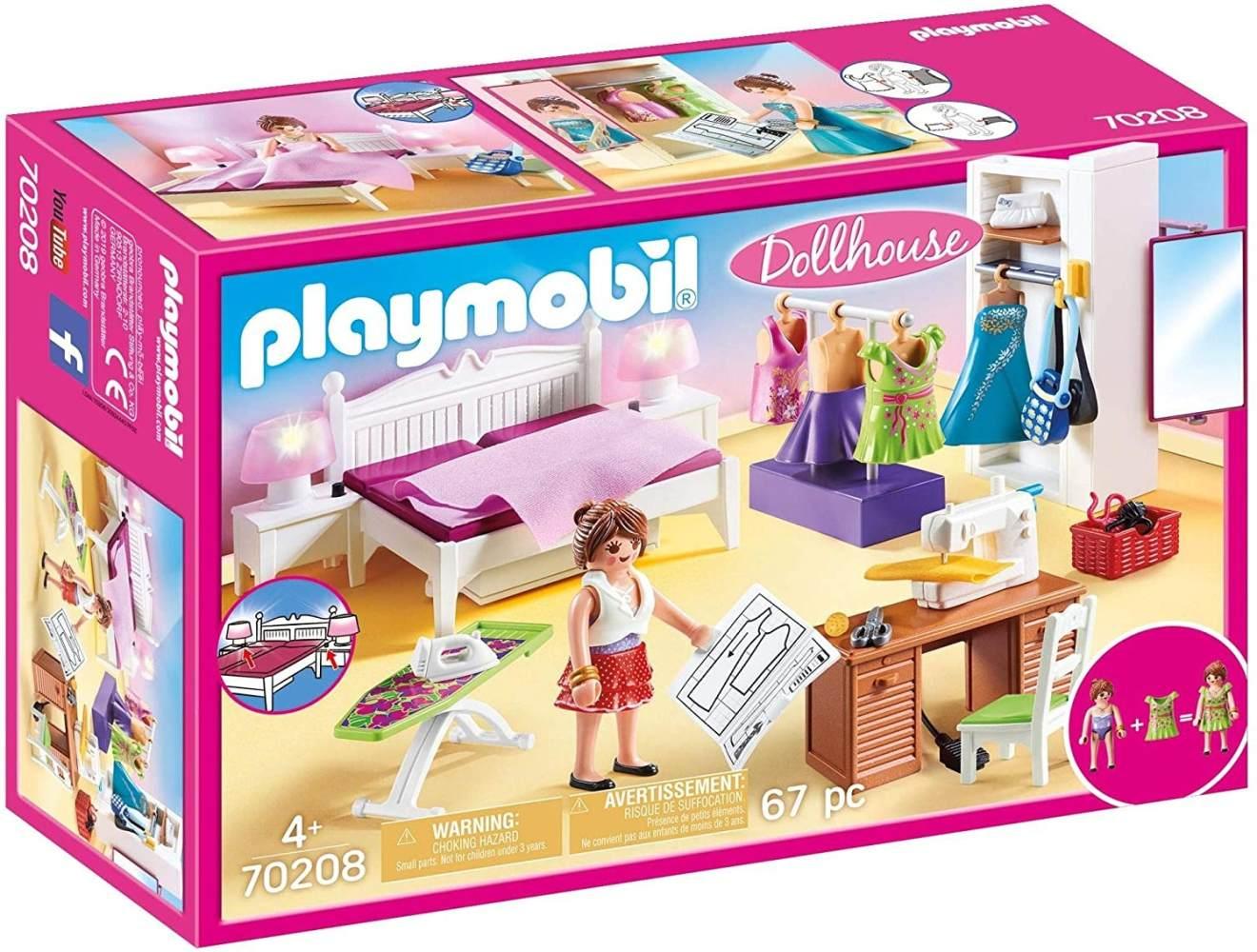 Playmobil Dollhouse 70208 Schlafzimmer und Nähstudio, mit Lichteffekten, ab 4 Jahren Bild 1