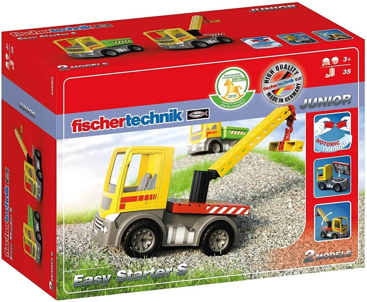 fischertechnik Easy Starter S - Spielzeug LKW für Kinder ab 3 Jahre - das Lieblingsthema Lastwagen für Zuhause aber auch im Außenbereich - 2 Modelle - Muldenkipper & Bauplatte mit Kran Bild 1