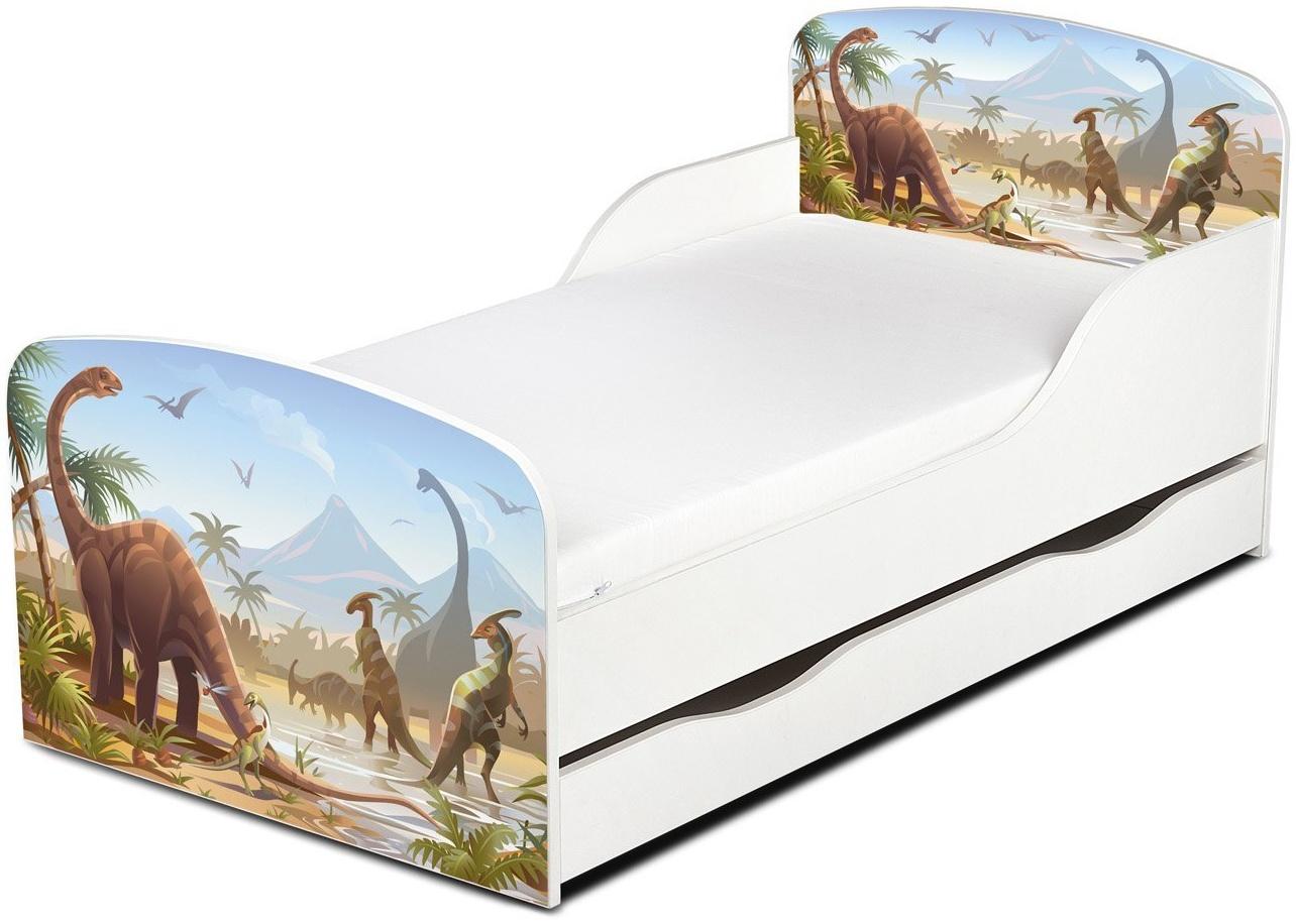 Leomark Kinderbett 70x140 cm, Dinosaurier Jurassic, mit Matratze und Lattenrost Bild 1