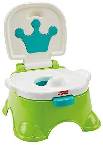 Fisher-Price DLT00 - Lerntöpfchen Toilettentrainer mit Fußbank mitwachsendes Töpfchen grün inkl. Toilettensitz für Kleinkinder Bild 1
