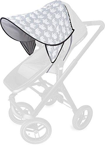 PRIEBES DAISY Sonnendach UV-Schutz 50+   Sonnensegel Sonnenschutz Sonnenverdeck für Sportwagen, Buggys, Kinderwagen   100% Baumwolle   beidseitig verwendbar, Design:elefanten grau Bild 1