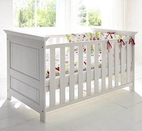 Babybett Bett Gitterbett Odette Schlupfsprossen Babyzimmer Kiefer weiß massiv Bild 1