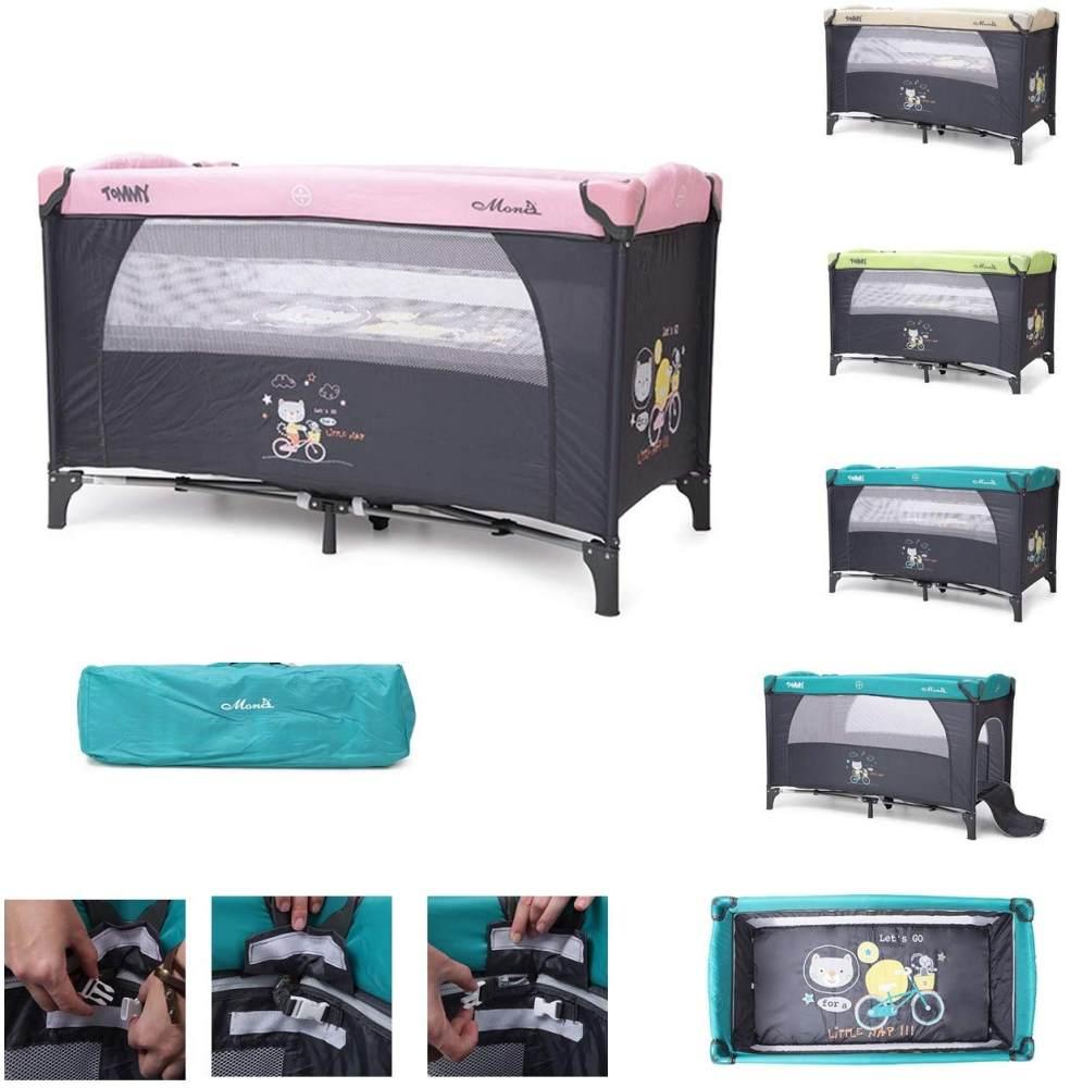 Reisebett, Laufstall Tommy, Seiteneingang, Faltmatratze, zwei Höhen pink Bild 1