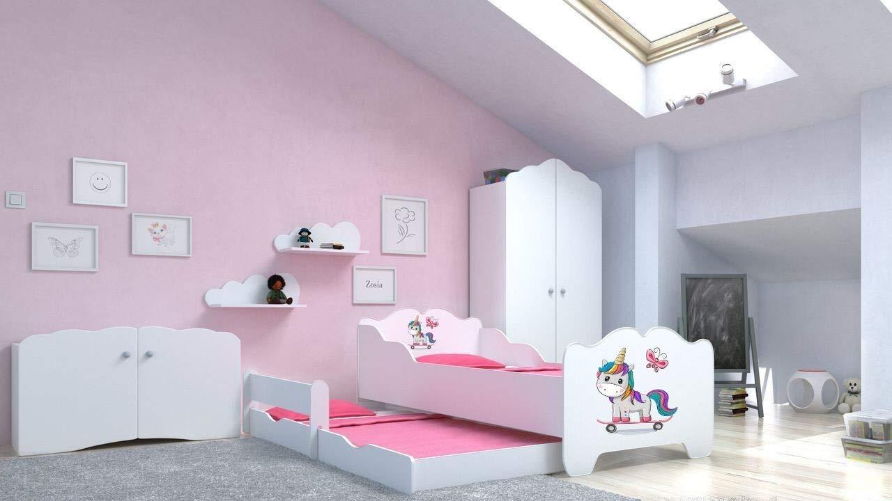 Angelbeds 'Anna' Kinderbett 80x160 cm, Motiv E2, mit Flex-Lattenrost, Schaummatratze und Schubbett Bild 1