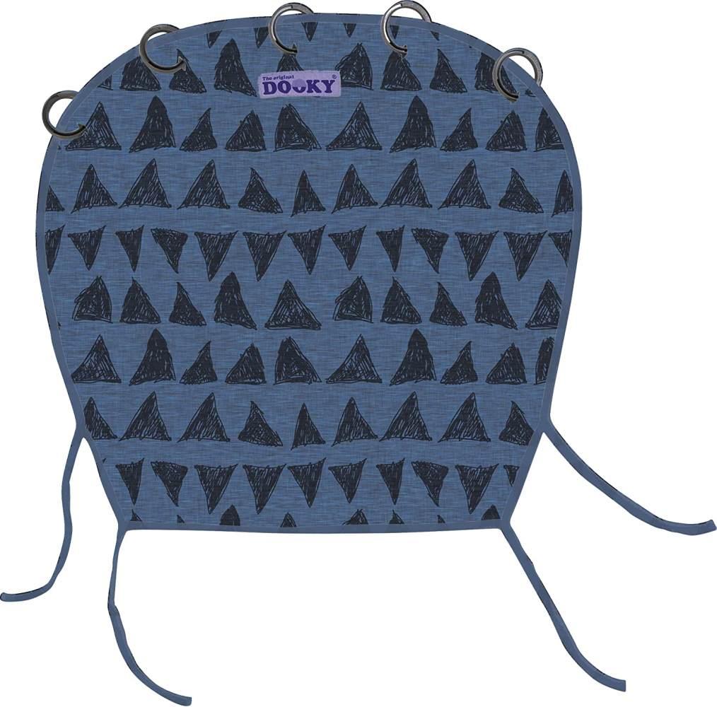 Original Dooky Universal Cover Dark Blue Tribal Sonnenschutz, Wetterschutz, TÜV getestet, universale Passform mit Klettband für Babyschale, Kinderwagen und Buggy, blau Bild 1