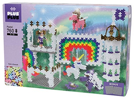 Plus-Plus 9603775 Geniales Konstruktionsspielzeug, Regenbogen Schloss, Pastel, Bausteine-Set, 760 Teile Bild 1