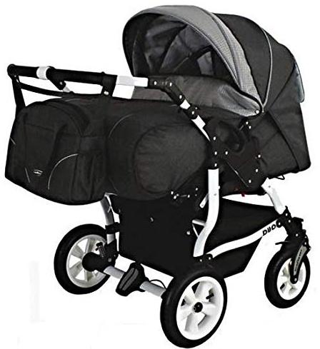 Adbor Duo Spezial Zwillingskinderwagen mit Babyschalen, Zwillingswagen, Zwillingsbuggy Farbe D-4 grau Bild 1