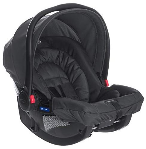 Graco SnugRide Babyschale Gruppe 0+, Geburt bis 13 kg, nutzbar auch mit Base, inkl. Seitenaufprallschutz, Verdeck, Einlage, Midnight Black Bild 1