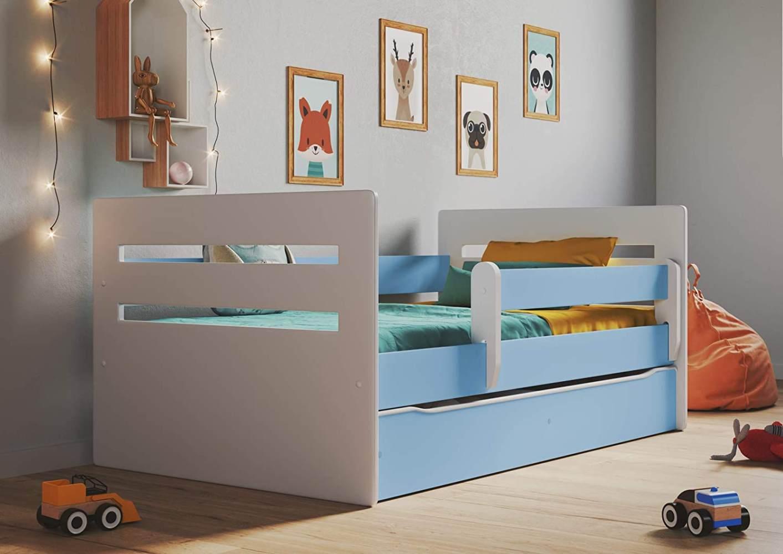 Kinderbett Jugendbett Blau mit Rausfallschutz Schubalde und Lattenrost Kinderbetten für Mädchen und Junge - Tomi 80 x 140 cm Bild 1
