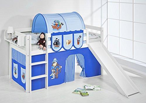 Lilokids 'Jelle' Spielbett 90 x 200 cm, Pirat Blau, Kiefer massiv, mit Rutsche und Vorhang Bild 1