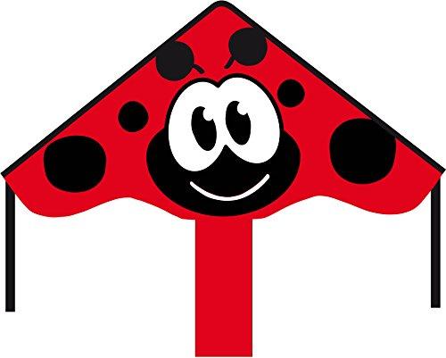 HQ Windspiration 102144 - Simple Flyer Ladybug 85cm Kinderdrachen Einleiner, ab 5 Jahren, 42x85cm und 1.5m Drachenschwanz, inkl. 17kp Polyesterschnur 25m auf Griff, 2-5 Beaufort Bild 1