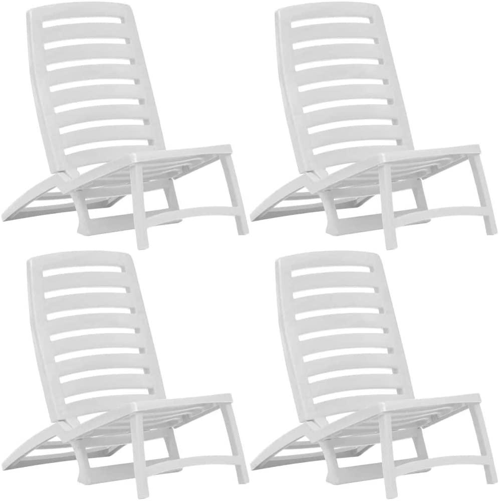 vidaXL Kinder-Strandstühle Klappbar 4 Stk. Weiß Kunststoff Bild 1
