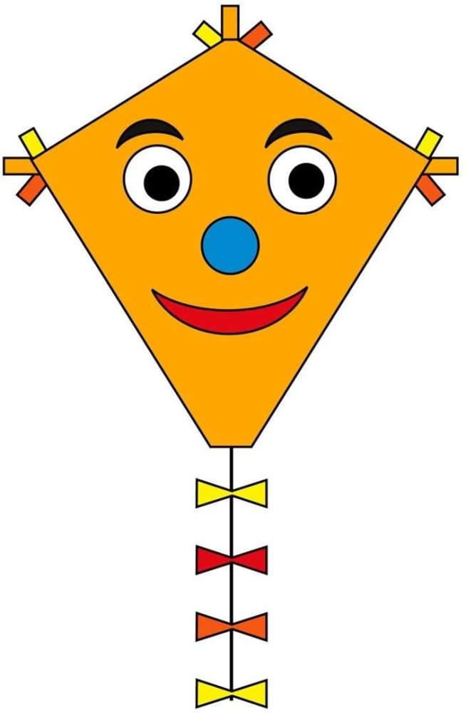 Ecoline 102110 - Eddy Happy Face 50cm Kinderdrachen Einleiner, ab 5 Jahren, 50x45cm und 2.5m Drachenschwanz, inkl. 10kp Polyesterschnur 25m auf Griff, 2-5 Beaufort Bild 1