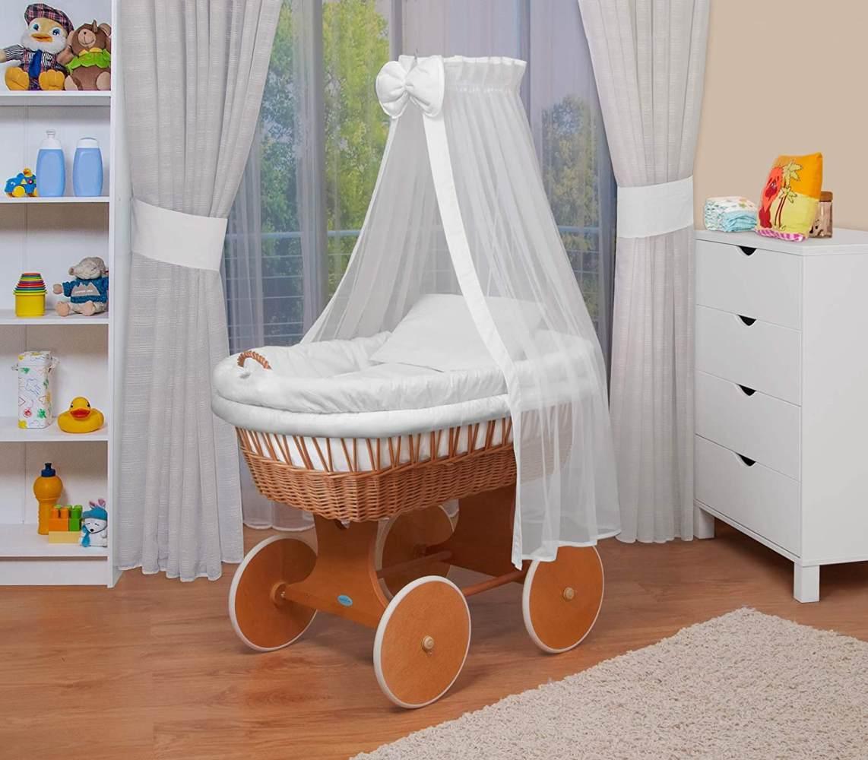 WALDIN Baby Stubenwagen-Set mit Ausstattung, Gestell/Räder natur lackiert, Ausstattung weiß Bild 1