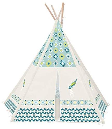 Achoka Zelt Tipi Zeichnung Feder mit Boden aus Polyester blau beige 120 x 120 x 150 cm Set für Kinder von 0 bis 7 Jahren Kreative Spiele für Jungen und Mädchen – Innen Außen Bild 1