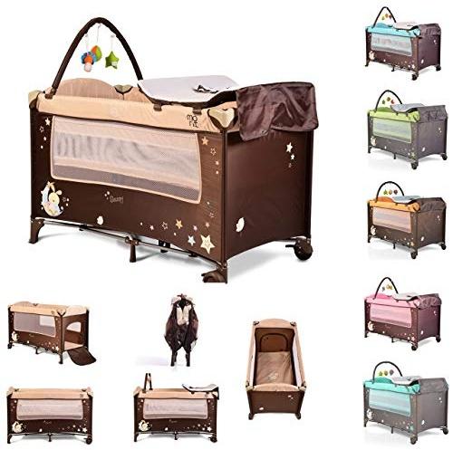 Moni Reisebett Sleepy Rollen Wickelauflage Matratze Spielbogen Seiteneingang beige Bild 1