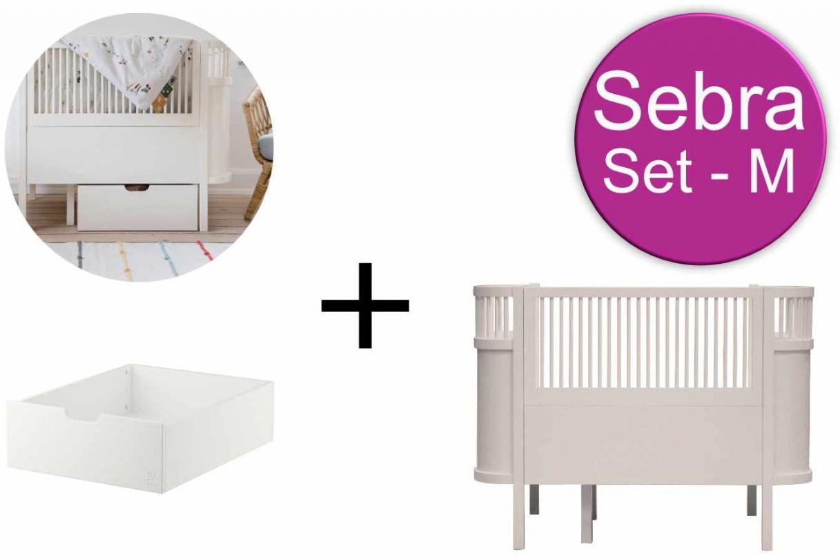 Sebra Baby & Juniorbett mit Schublade Set-M Birckbark Beige Bild 1