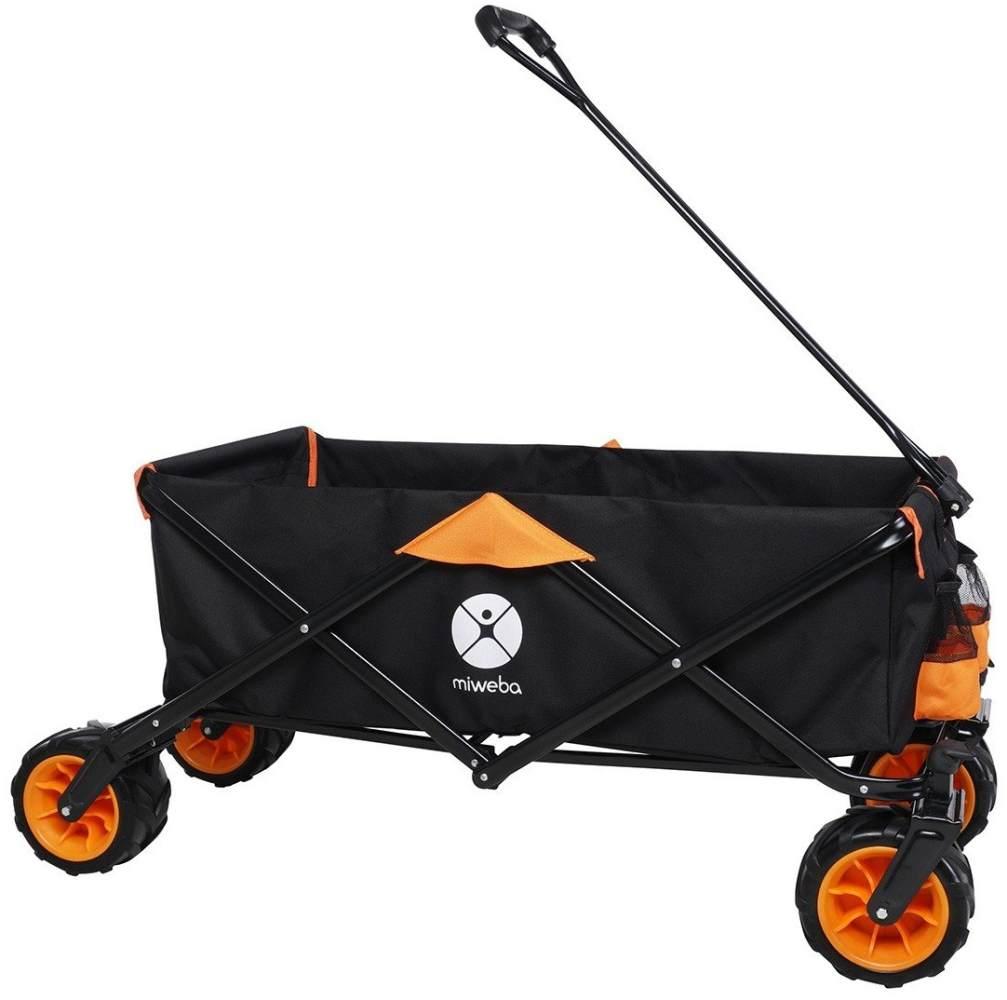 Miweba faltbarer Bollerwagen Transportwagen Handwagen Karre Gartenwagen Strand (Orange) Bild 1