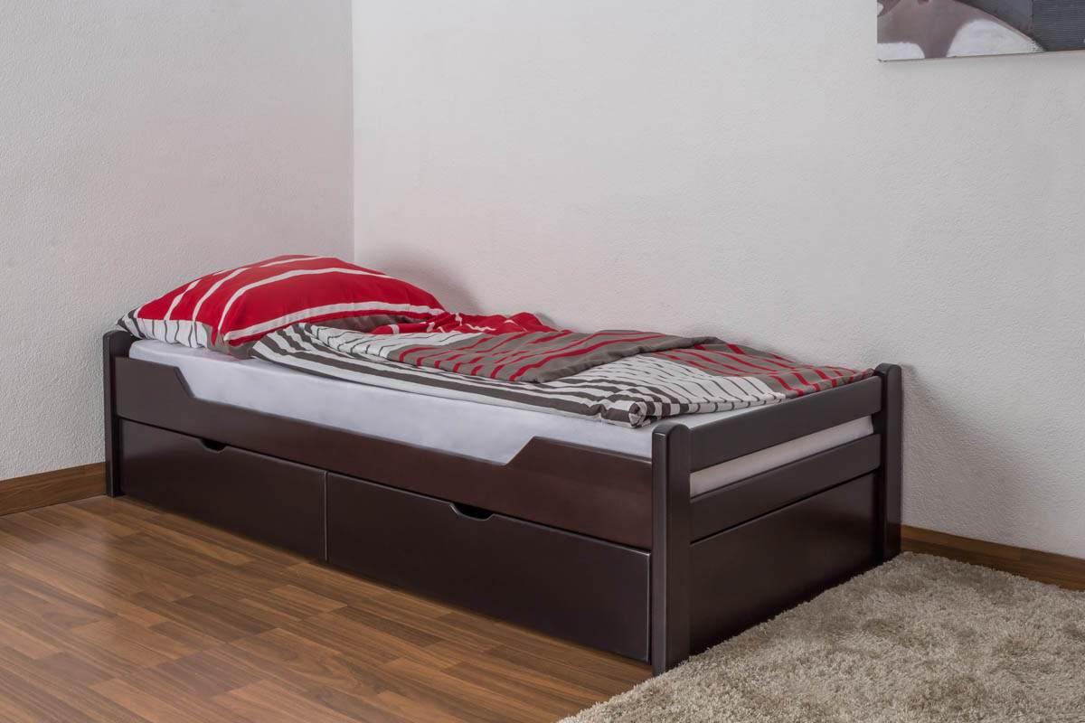 Einzelbett/Funktionsbett'Easy Premium Line' K1/1n inkl 2 Schubladen und 2 Abdeckblenden, 90 x 200 cm Buche Vollholz massiv Schokobraun Bild 1