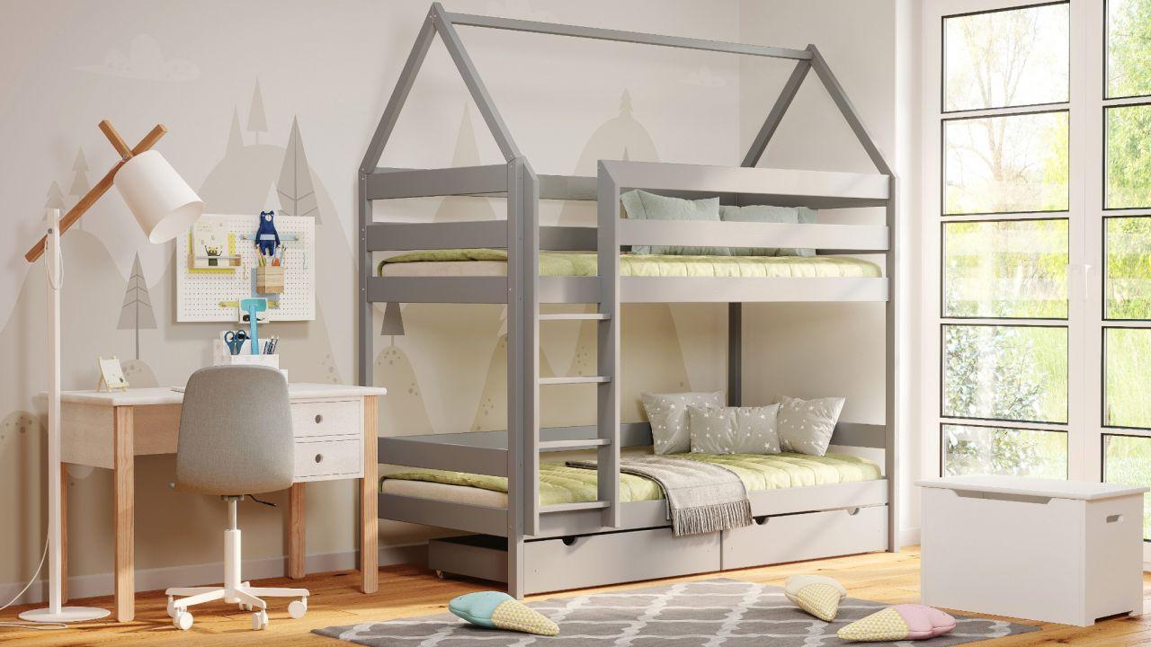 Kinderbettenwelt 'Home' Etagenbett 80x190 cm, grau, Kiefer massiv, mit Lattenrosten und zwei Schubladen Bild 1