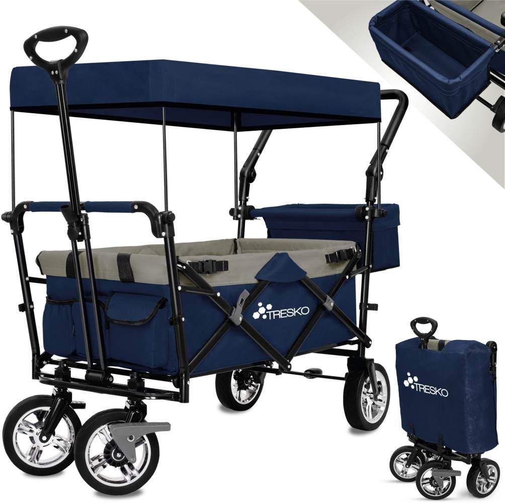 TRESKO Bollerwagen in Blau, faltbar inkl. Sonnendach, max. Belastbarkeit 80 kg Bild 1