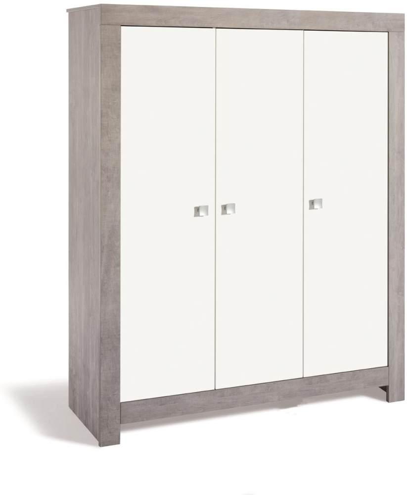 Schardt 'Nordic Driftwood' 3-trg. Kleiderschrank, weiß/grau, mit Kleiderstange und 7 Ablagefächern Bild 1