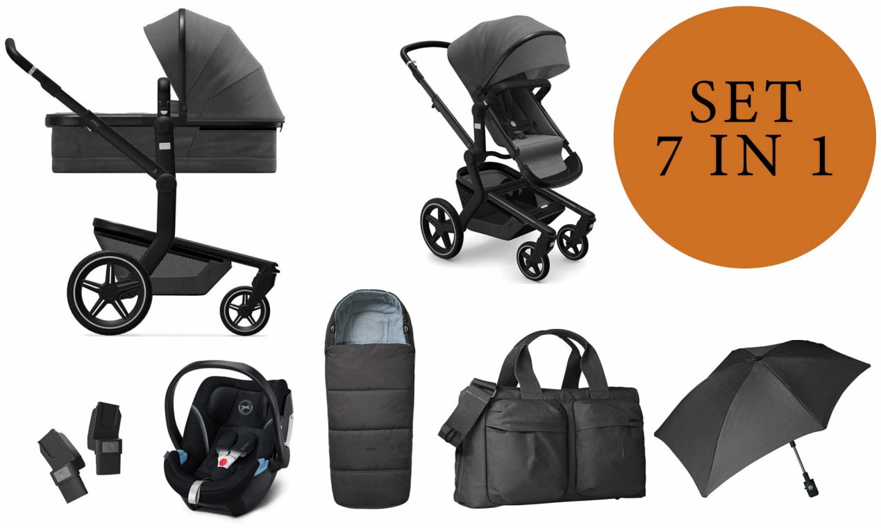Joolz 'Day+' Kombikinderwangen 4plusin1 2020 in Awesome Anthracite, inkl. Cybex Babyschale in Soho Grey Bild 1
