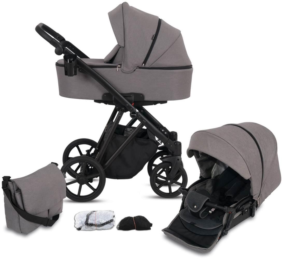 Knorr Baby Kombikinderwagen 2in1 'LUZON' Black Edition 2020 in Taupe, inkl. Babywanne, Sportsitz, Wickeltasche, Regenschutz Bild 1