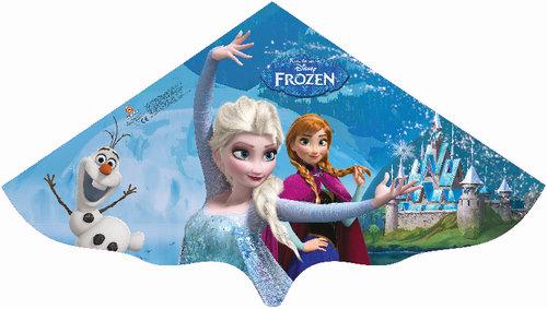 Paul Günther 1220 - Kinderdrachen mit Disneys Frozen Elsa Motiv, Einleinerdrachen aus robuster PE-Folie für Kinder ab 4 Jahre mit Wickelgriff und Schnur, ca. 115 x 63 cm groß Bild 1