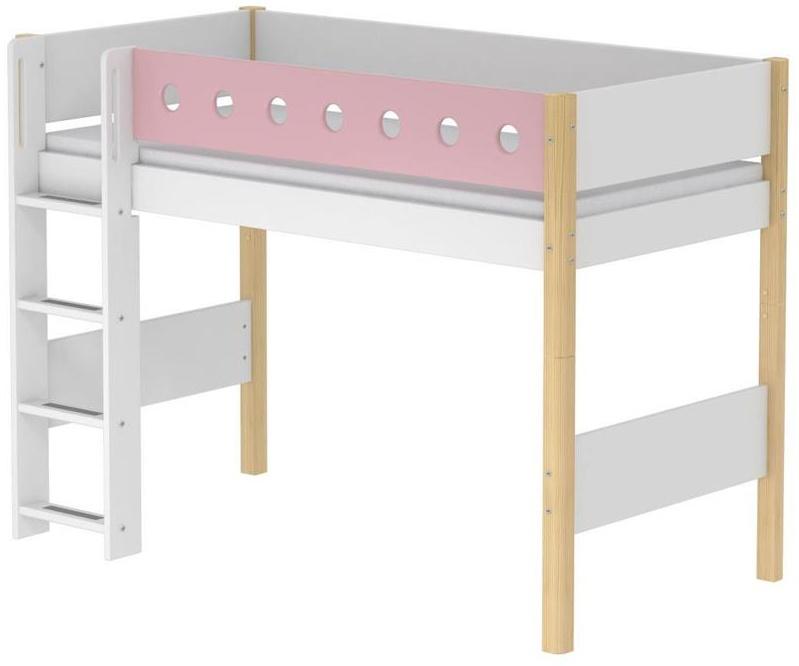 Flexa 'White' Halbhochbett weiß/natur/rosa, gerade Leiter, 90x200cm Bild 1