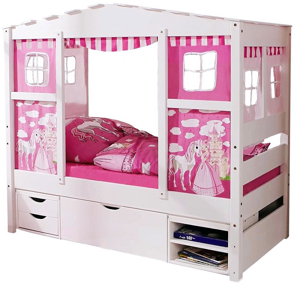 Ticaa 'Horse Rosa' Hausbett Mini weiß inkl. Bettkasten 'Marlies' Bild 1