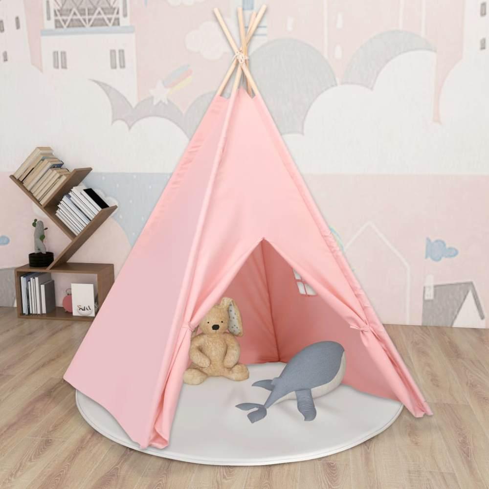 vidaXL Kinder Tipi-Zelt mit Tasche Pfirsichhaut Rosa 120x120x150 cm Bild 1