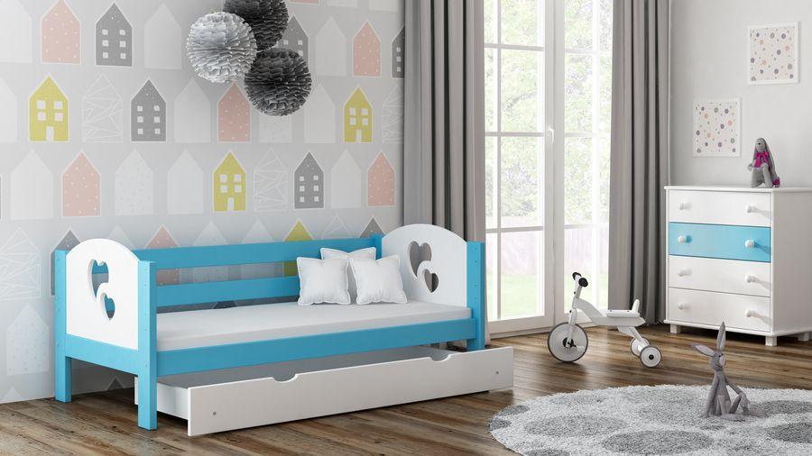 Kinderbettenwelt 'Felicita F3' Kinderbett 80x160 cm, Blau, inkl. Matratze, Schublade und Rausfallschutz Bild 1