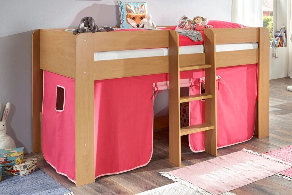 Relita 'Andi' Halbhochbett natur, inkl. Matratze und Vorhang 'Pink/Rosa' Bild 1